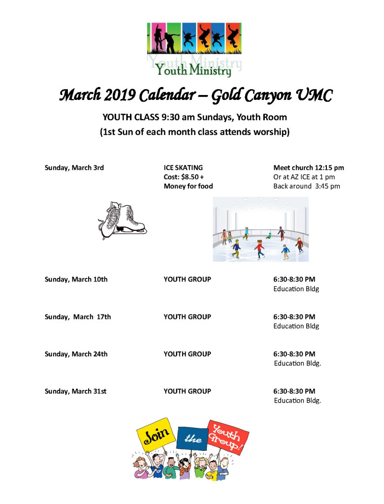 March Youth Calendar 2019 NO DEP