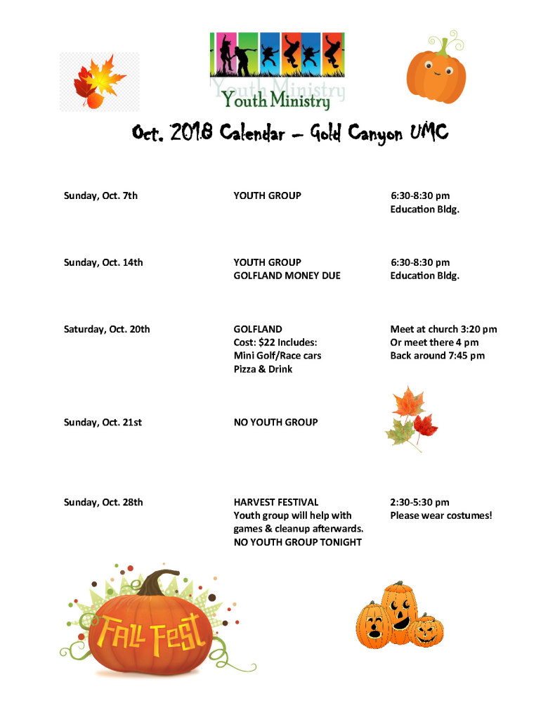 Youth Calendar_October 2018